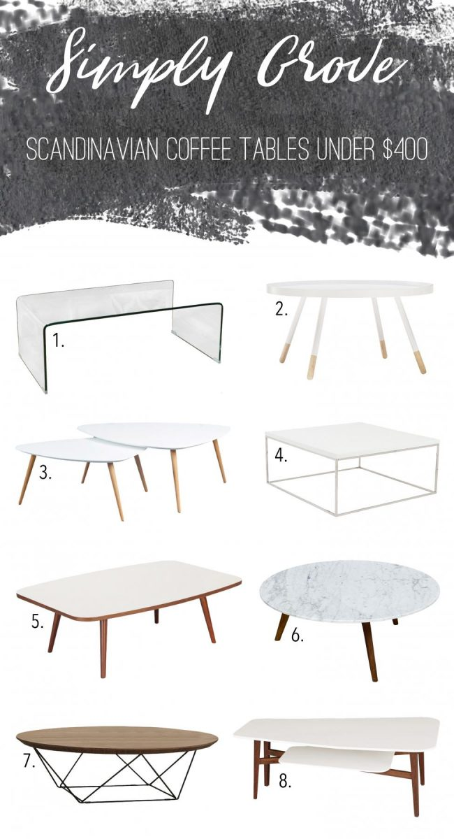 Scandinavian coffee tables under $400 Via Simply Grove