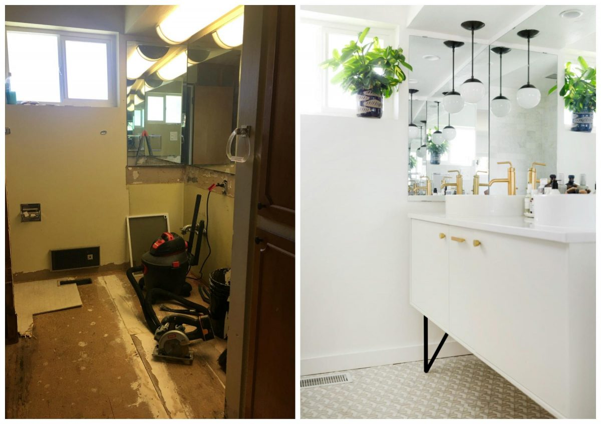 Kirsten Grove's before and after of her bathroom, via simply grove