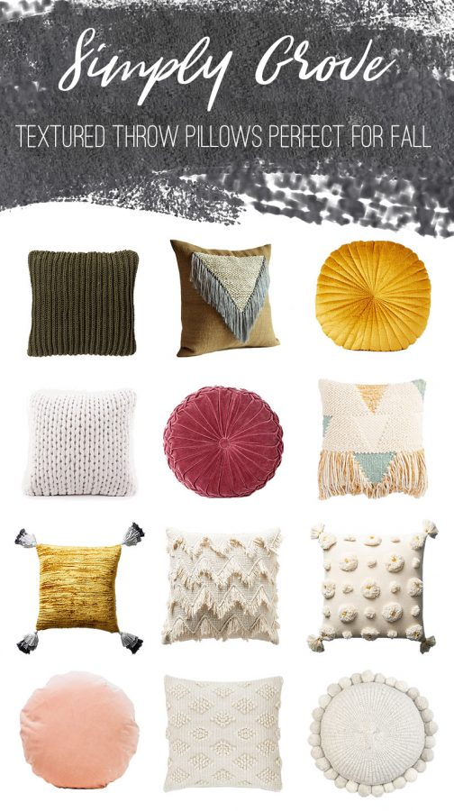 Textured Throw Pillows Perfect for Fall via Simply Grove