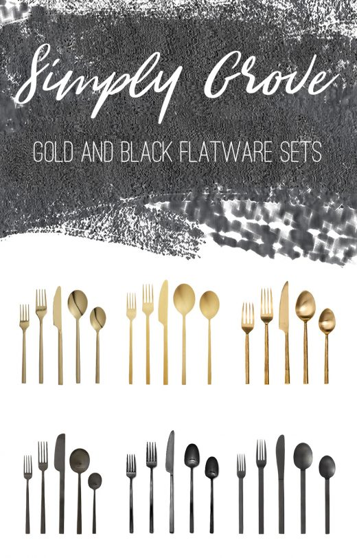 Gold and Black 20-Piece Flatware Sets via Simply Grove